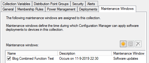 Set-SCCMCollectionMaintenanceWindow Created Maintenance Window Collection Properties