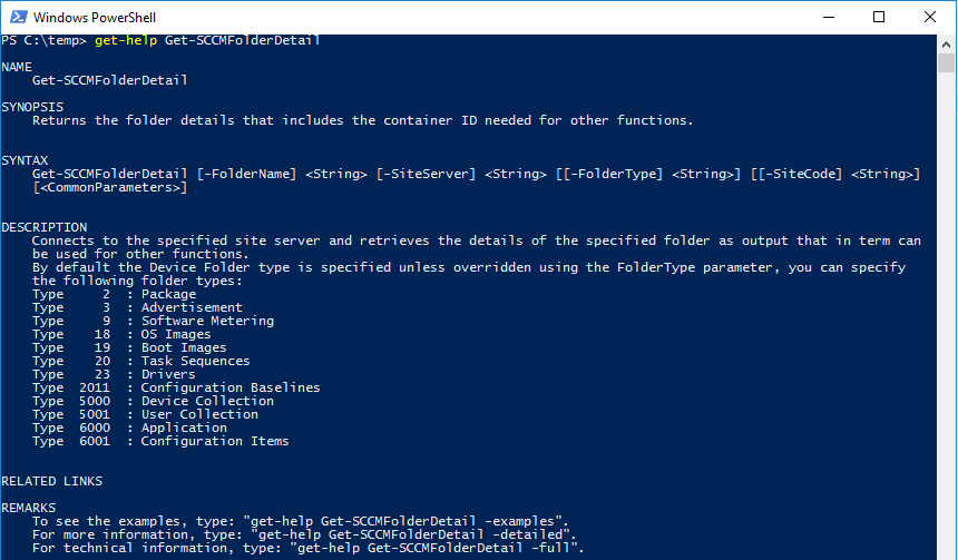 Get-SCCMFolderDetail Get-Help Example