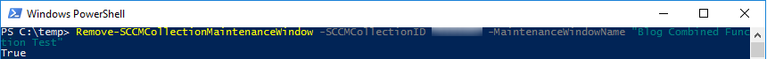 Remove-SCCMCollectionMaintenanceWindow without verbose