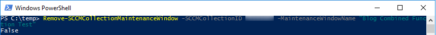 Remove-SCCMCollectionMaintenanceWindow without verbose and False returned