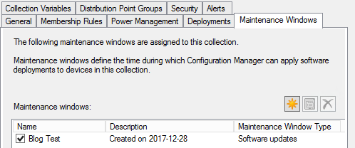 SCCM Collection Maintenance Window